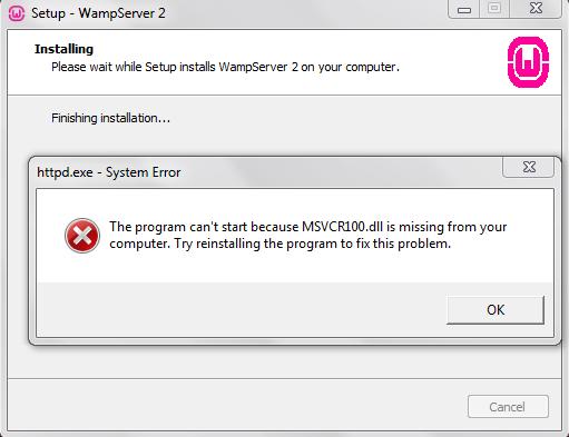 Wamp Server Installing Error